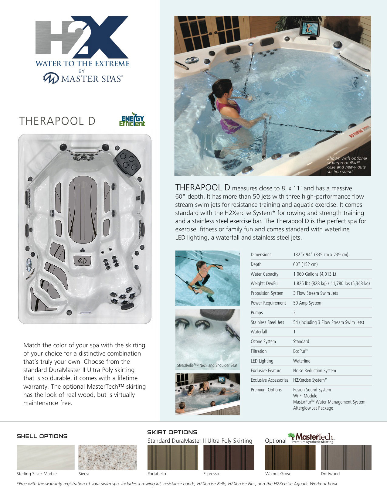 H2X Trainer Therapool D Swim Spa