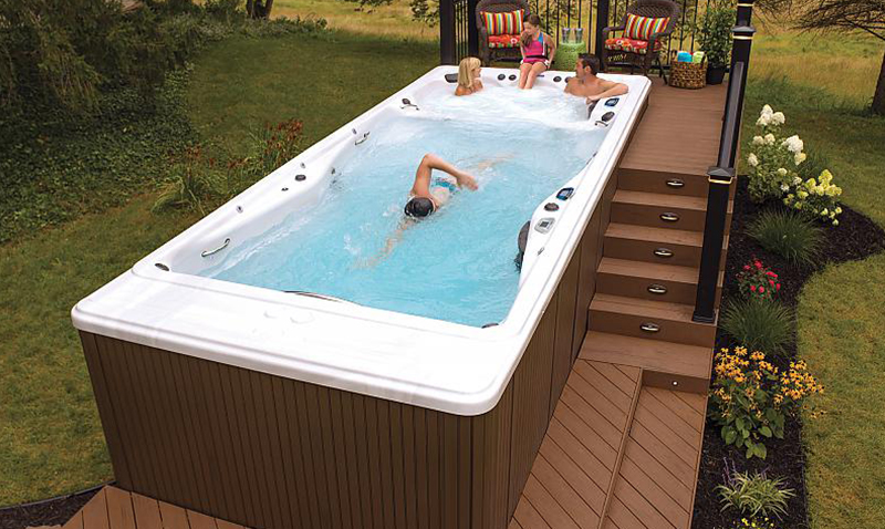 Ordinaire Large Backyard Ideas. Swim Spas With Decks